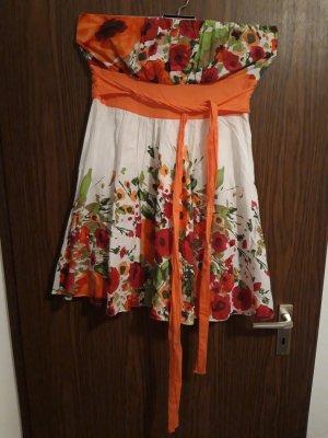 Robe épaules nues blanc-orange