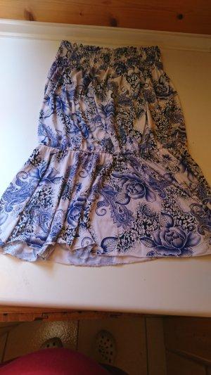 Off the shoulder jurk wit-blauw