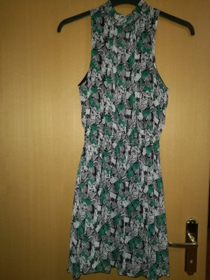 gemustertes Kleid grün
