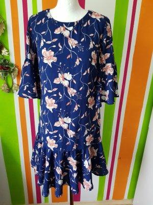 Gemustertes Kleid Vila Gr. S 36 NEU Büro casual Minikleid Rüschen 3/4 Arm