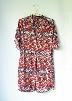 gemustertes Mango Basic Kleid Blusenkleid Tunika Kleid M 38 rot creme blau