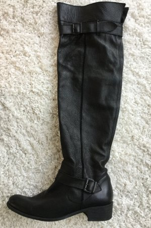 Geniale schwarze Overknee Stiefel, Echtleder