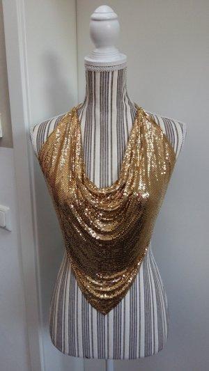 Blusa sin espalda color oro acero inoxidable