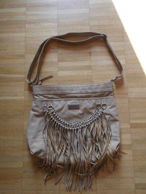 GENTLEFAWN coole Crossbody Handtasche Shopper mit Fransen Sandtöne Top Zustand