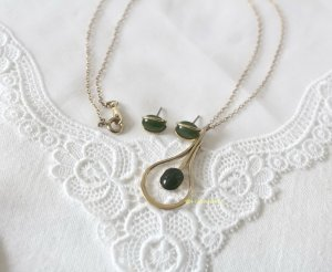 American Vintage Necklace gold-colored-dark green