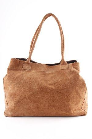 Genuine Leather Schultertasche hellbraun-dunkelbraun Casual-Look