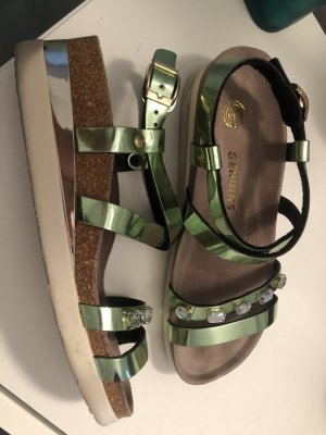 Genuine Leather Plateauzool sandalen lichtgroen Leer
