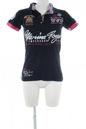 Geographical Norway Camiseta tipo polo negro-rosa estampado temático