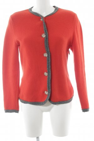 Georg Maier Strickjacke rot-grau Country-Look