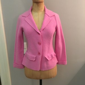 Georg Maier Gebreide blazer roze Wol