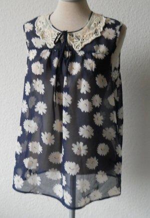 George Chiffon Top Bluse Bubikragen Spitze blau weiß Gr UK 10 EUR 38 S Daisy neu