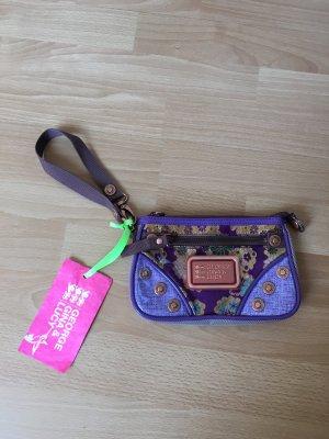 George Gina Lucy GGL Lack Clutch Tasche Handtasche Blumen lila gold Bronze