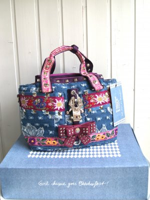 George Gina & Lucy Traditional Bag azure-blue violet cotton