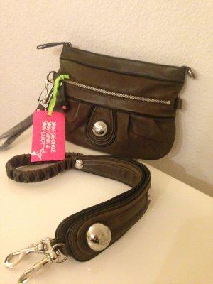 GEORGE GINA & LUCY Messenger Bag Umhängetasche Clutch ECHTLEDERTASCHE grau NEU