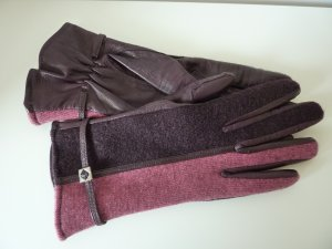 Leather Gloves pink-purple leather