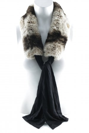 Georges Rech Fringed Scarf cream-dark brown fluffy