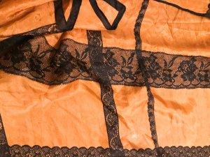Georges Rech Schal Seidentuch 100% Seide orange schwarz florales Muster