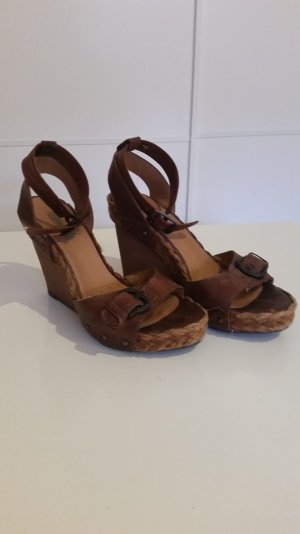 Geox Respira Wedge Sandals brown leather
