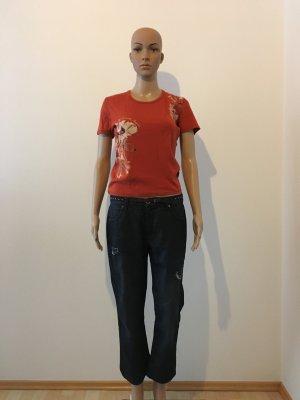 Geox denim Hose Jeans dark Blue Navy dunkelblau ripped Löcher tiefer Schritt ankle 7/8 flare top musthave ausgestellt