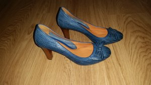 Geox Escarpins Mary Jane brun sable-bleu cadet cuir