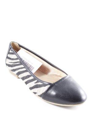 Geox faltbare Ballerinas schwarz-beige Streifenmuster Casual-Look