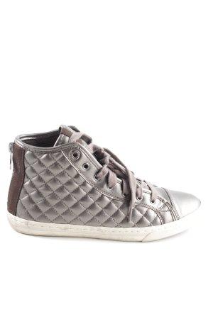 Geox High Top Sneaker silberfarben-braun Steppmuster Casual-Look