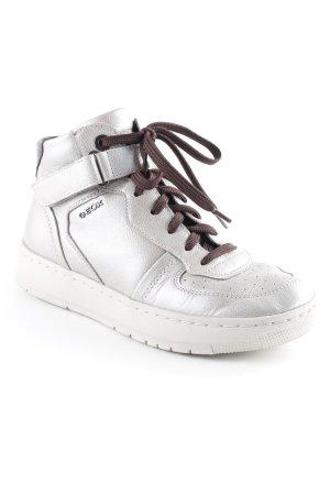 Geox High Top Sneaker silberfarben-dunkelbraun sportlicher Stil