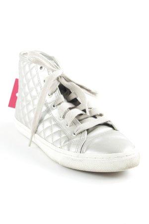 Geox High Top Sneaker silberfarben Karomuster Glanz-Optik
