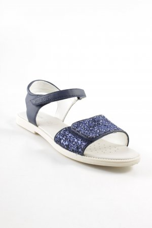 Geox Komfort-Sandalen weiß-dunkelblau Glitzer-Optik