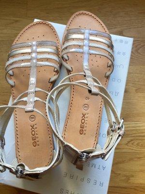 Geox Respira: Raffinierte Riemchen Sandalen Gr. 40 NEU Beige Gold