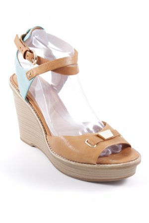 Geox Respira Strapped High-Heeled Sandals camel-turquoise beach look