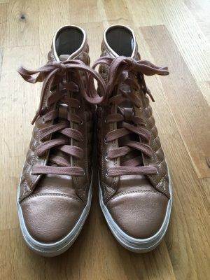 Geox Respira Sneaker Roségold mit Steppoberfläche in Glanzoptik Atmungsaktiv