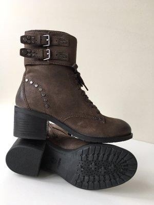 Geox Respira Stiefeletten Boots Schuhe Gr. 38 Vintage Look Braun