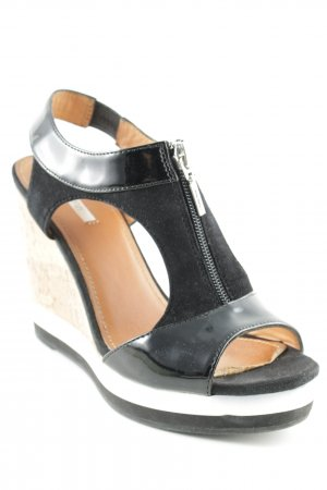 Geox Respira Wedge Sandals black material mix look