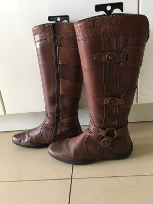 Geox Stiefel Leder Braun Flach Größe 40