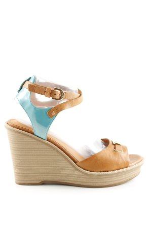 Geox Wedges Sandaletten braun-türkis Casual-Look