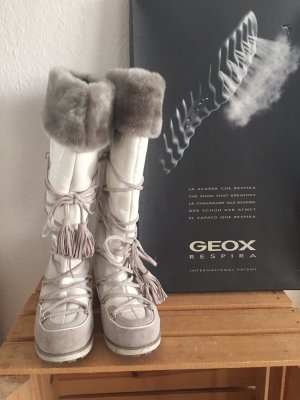 Geox Respira Fur Boots white-light grey