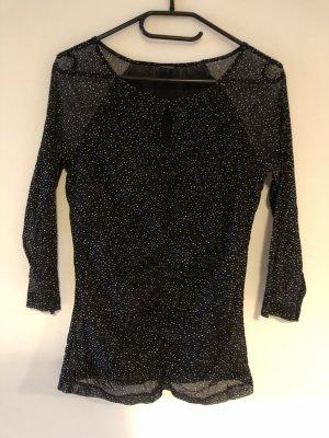 s.Oliver Glanzende blouse wit-zwart