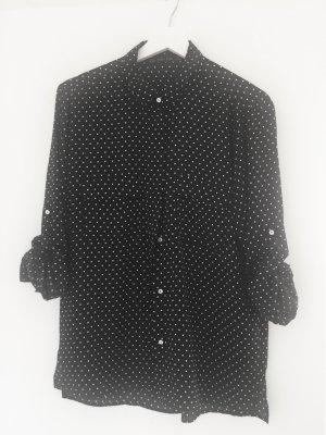 gepunktete Bluse mit hochkrempelbaren Ärmeln