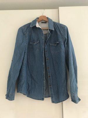 Gepunktete Jeans-Bluse