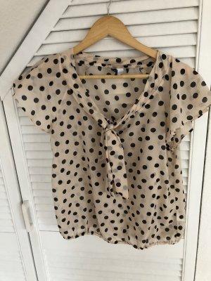 H&M Blusa con lazo beige claro-negro