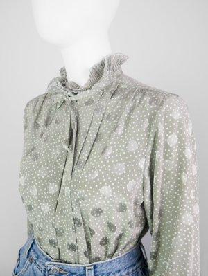 Gepunktete Vintage Bluse mit Plissee-Kragen