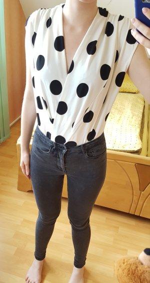 Zara Blusa tipo body blanco-negro