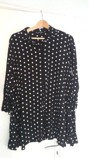 Zara Woman Shirtwaist dress black-white viscose