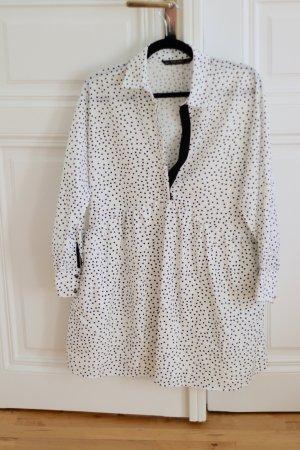 Zara Robe chemise blanc-noir