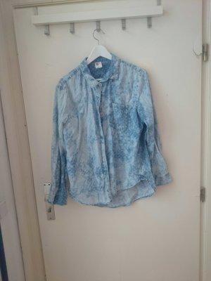 gepunktetes jeanshemd in acid waschung