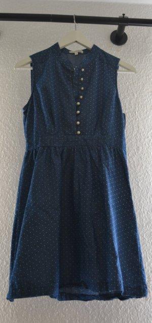 gepunktetes Jeanskleid mit Knopfleiste Perlen Vintage Stil