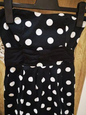Fishbone Vestido strapless blanco-negro