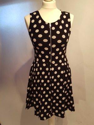 gepunktetes Kleid mit Reißverschluss