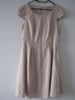 Orsay Vestido de manga corta marrón arena-blanco Poliéster